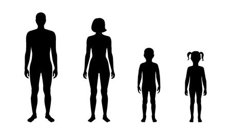 Illustration vectorielle isolée de la silhouette humaine, fille et garçon. Illustration noire isolée
