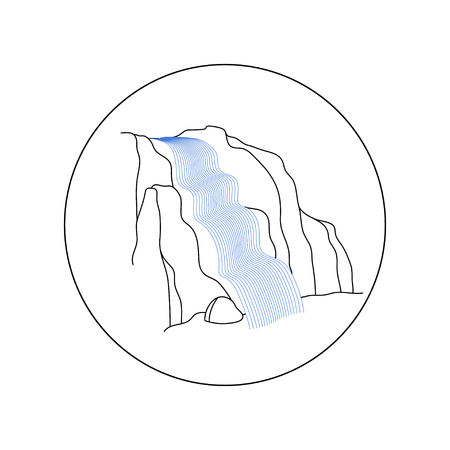Vector illustration of waterfall cascade. Water stream falling of various shape of mountain rock. Isolated outline hand drawn object. Logo, design element. Ilustrace