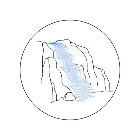 Vektorillustration der Wasserfallkaskade. Wasserstrom, der von verschiedener Form des Bergfelsens fällt. Isolierte Umriss Hand gezeichnetes Objekt. Logo, Gestaltungselement.