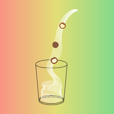 Vector glass of cashew milk with nuts. Vegan alternative organic milk splash pour in glass. Non dairy drink. Isolated transparent illustration. Healthy food, diet and nutrition concept