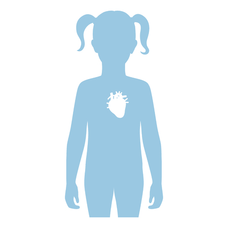 Vector isolated illustration of heart anatomy in girl body. Human circulatory system icon. Healthcare medical center, surgery, hospital, clinic . Internal child donor organ design. Donation Illusztráció