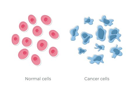 Vector isolated illustration of cell structure: normal and cancer. Medical diagram for poster, educational, science and medical use. Cancer icon or logo.