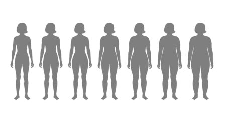 Vector isolated illustration of different figure shape woman silhouette. Isolated black illustration Illusztráció