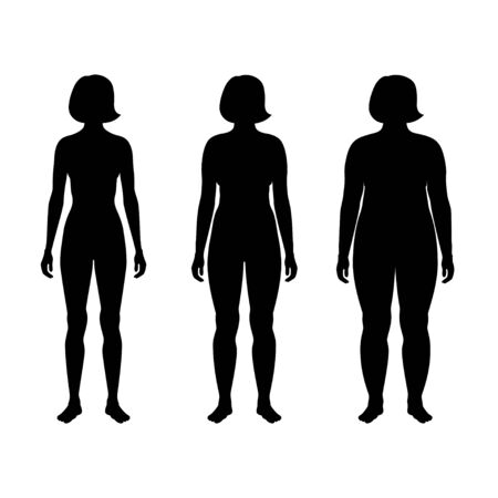 Vector isolated illustration of different figure shape woman silhouette. Isolated black illustration Illustration