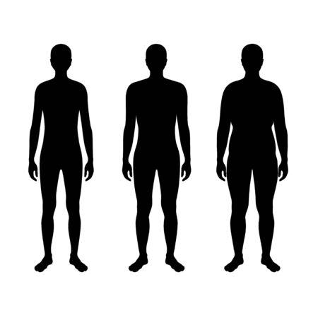 Illustration vectorielle isolée de la silhouette de l'homme de forme différente. Illustration noire isolée Vecteurs