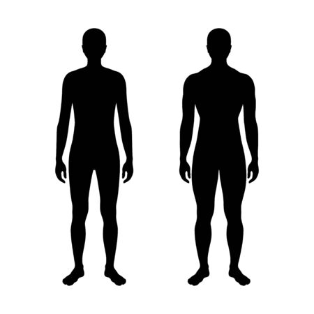 Vector isolated illustration of man silhouette. Isolated black illustration