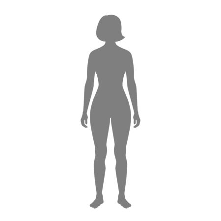 Vector isolated illustration of woman silhouette. Isolated black illustration