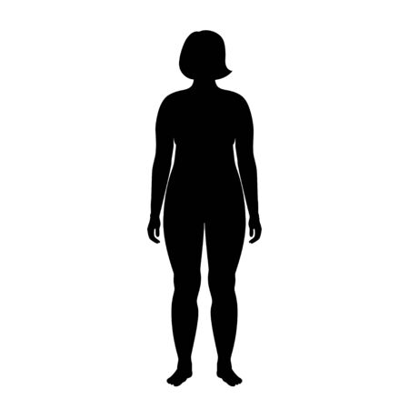 Vector isolated illustration of obese woman silhouette. Isolated black illustration