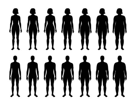 Vector isolated illustration of different figure shape woman and man silhouette. Isolated black illustration