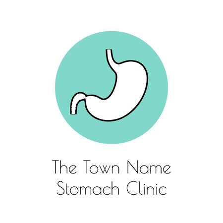 Vector isolated illustration of stomach anatomy. Human digestive system icon. Healthcare medical center, surgery, hospital, clinic, diagnostic logo. Internal organ symbol poster design. Donation Çizim