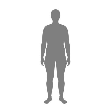 Vector isolated illustration of obese man silhouette. Isolated black illustration