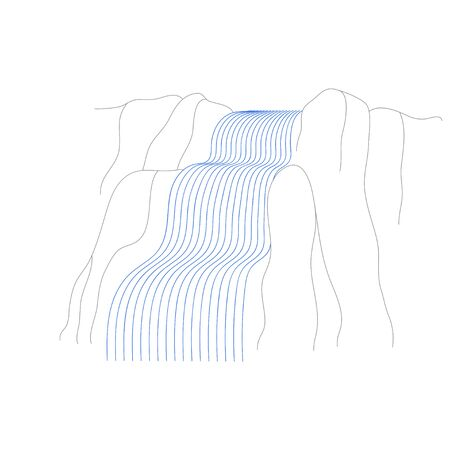 Vector illustration of waterfall cascade. Water stream falling of various shape of mountain rock. Isolated outline hand drawn object. Logo, design element. 向量圖像