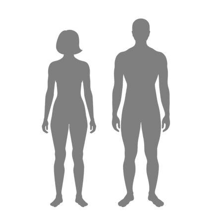 Illustration vectorielle isolée de la silhouette de la femme et de l'homme. Illustration noire isolée Vecteurs