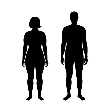 Vector isolated illustration of obese woman and man silhouette. Isolated black illustration
