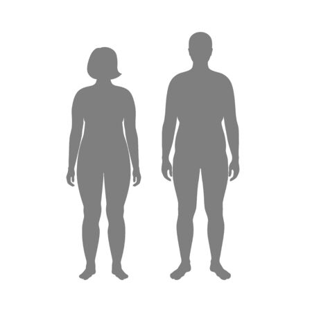Vector isolated illustration of obese woman and man silhouette. Isolated black illustration Standard-Bild - 132641526