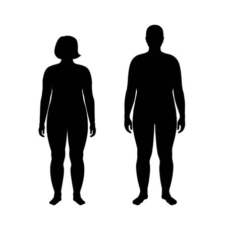 Vector isolated illustration of obese woman and man silhouette. Isolated black illustration Standard-Bild - 132641532