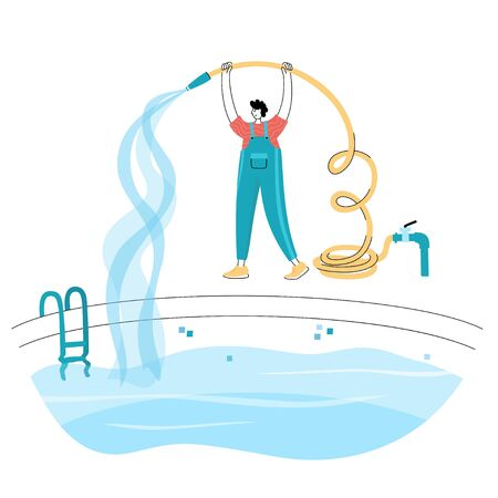Vector isolated illustration of man filling the swimming pool with water flowing from the hose. Worker in uniform character. Swimming pool maintenance basics. Image 12 of 12