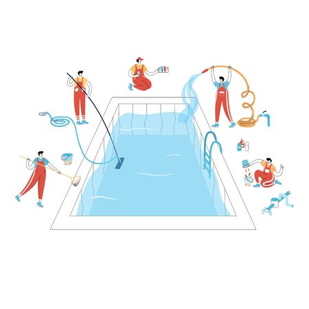 Vector isolated illustration of workers in uniform cleaning a swimming pool with tools. Skimming, brushing, vacuuming, adding chemicals, testing. Pool maintenance basics.  Illustration