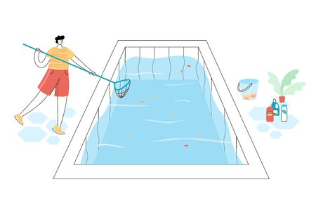 Vector isolated illustration of man cleaning fallen leaves from a swimming pool with skimmer. Chemical cleaning products and plant on background. Pool Maintenance Vectores