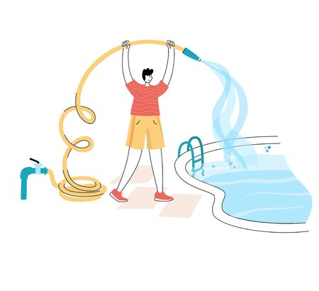 Vector isolated illustration of man filling the swimming pool with water flowing from the hose. Swimming pool maintenance