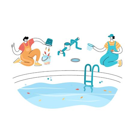 Vector isolated illustration of man cleaning fallen leaves from a pool skim basket. Worker in uniform character. Swimming pool maintenance basics. Image 4 of 14