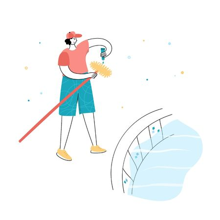 Vector isolated illustration of man brushing walls of a pool. Swimming pool maintenance