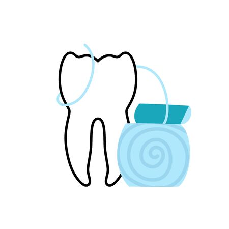Vector isolated illustration of tooth and dental floss. Concept of tooth cleaning, care and protection from tooth decay. Teeth icon. Medical banner or poster illustration. Oral Health