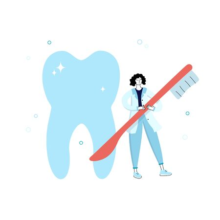 Vector isolated illustration of tooth and doctor holding toothbrush. Concept of tooth cleaning, care and protection from tooth decay. Teeth icon. Medical banner or poster illustration. Oral Health