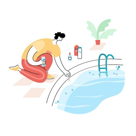 Vector isolated illustration of man cheking and balancing pH Levels of swimming pool water with test stripes. Swimming pool maintenance