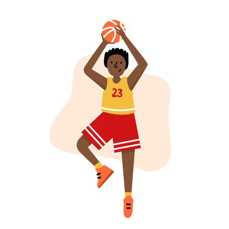 Basketball player with ball. Young boy cartoon action character. Flat vector isolated illustration. Children's basketball championship poster, banner design