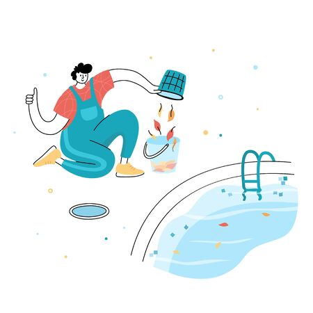 Vector isolated illustration of man cleaning fallen leaves from a pool skim basket. Worker in uniform character. Swimming pool maintenancebasics. Image 3 of 12