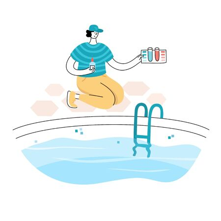 Vector isolated illustration of man cheking and balancing pH Levels of swimming pool water with pool care kit. Swimming pool maintenance