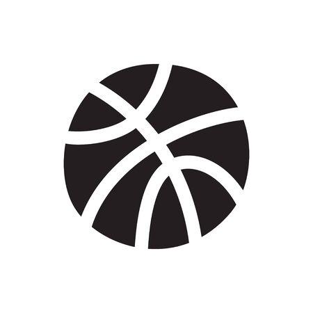 Vector isolated illustration of basketball ball icon. Flat illustration on white background. Equipment for basketball court. Vetores