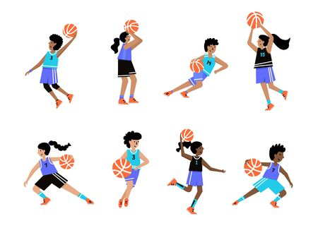 Set of basketball players with balls. Boys and girls cartoon action character. Flat vector isolated illustration. Children's basketball championship poster, banner design