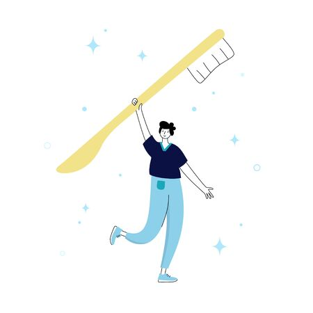 Vector isolated illustration of doctor holding toothbrush. Concept of tooth cleaning, care and protection from tooth decay. Teeth icon. Medical banner or poster illustration. Oral Health