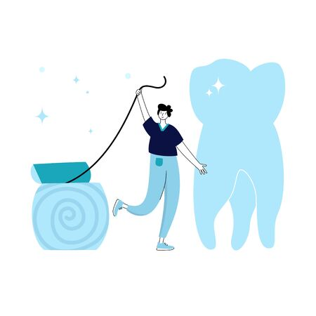 Vector isolated illustration of tooth and doctor holding floss. Concept of tooth cleaning, care and protection from tooth decay. Teeth icon. Medical banner or poster illustration. Oral Health