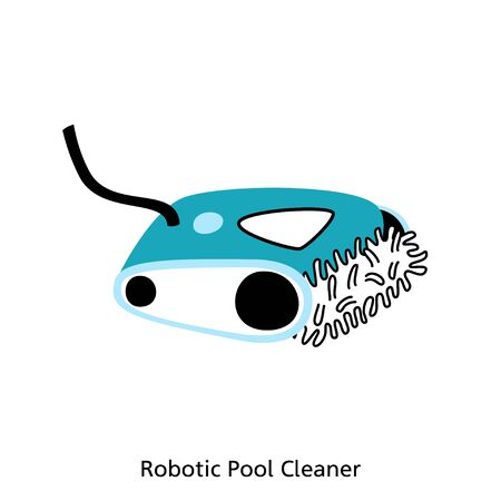 Vector isolated illustration of the swimming pool automated robotic type vacuum cleaner. Banner with text place. Swimming pool maintenance 일러스트