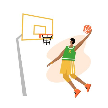 Basketball player shooting ball to the hoop. Free throw. Adult man cartoon action character. Flat vector isolated illustration. Mens basketball championship poster, banner design. Image 1 of 4.