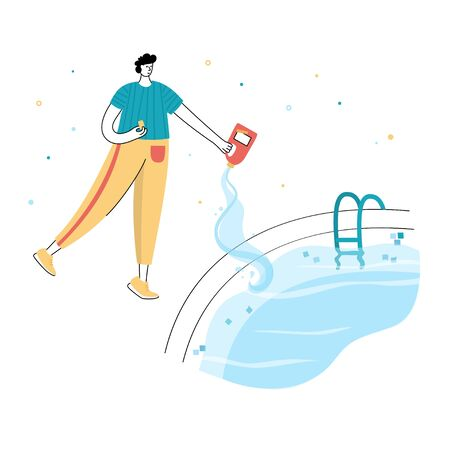 Vector isolated illustration of man shocks and algaecides the swimming pool water with chemicals. Swimming pool maintenance