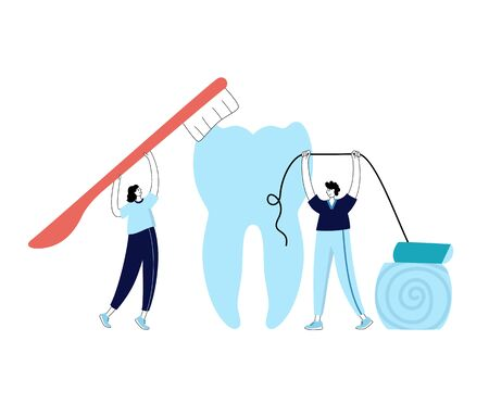 Vector isolated illustration of tooth and doctor holding toothbrush and dental floss. Concept of teeth cleaning, care and protection from tooth decay. Medical banner or poster illustration.