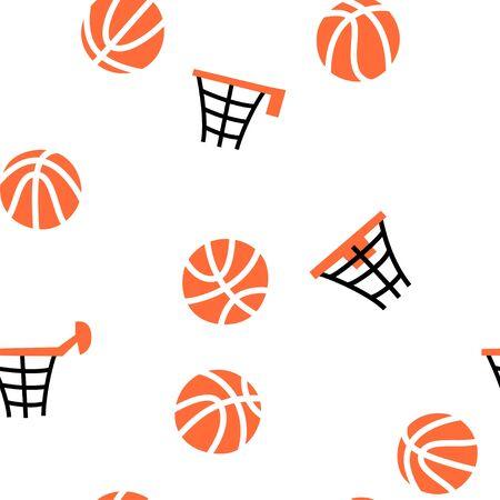 Vector isolated illustration of basketball seamless pattern. Balls, hoop, net. Flat illustration on white background. Championship poster, banner design
