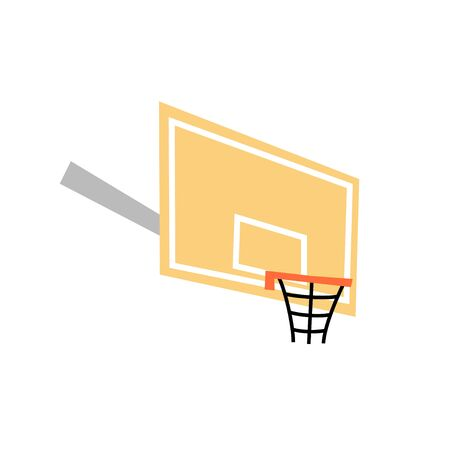 Vector isolated illustration of basketball hoop with backboard icon. Flat illustration on white background. Equipment for basketball court.