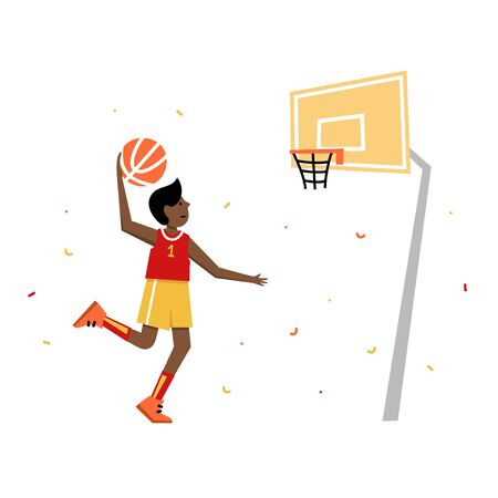 Basketball player shooting ball to the hoop. Young boy cartoon action character. Flat vector isolated illustration. Childrens basketball championship poster, banner design