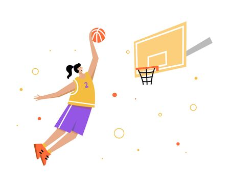 Basketball player shooting ball to the hoop. Adult woman cartoon action character. Flat vector isolated illustration. Womens basketball championship poster, banner design