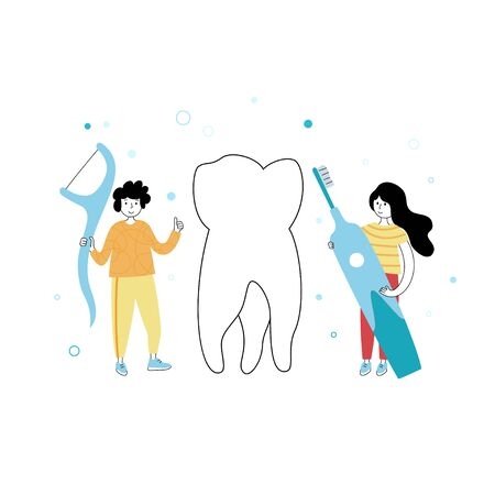 Vector isolated illustration of tooth and kid holding toothbrush and dental floss. Concept of teeth cleaning, care and protection from tooth decay. Medical banner or poster illustration.
