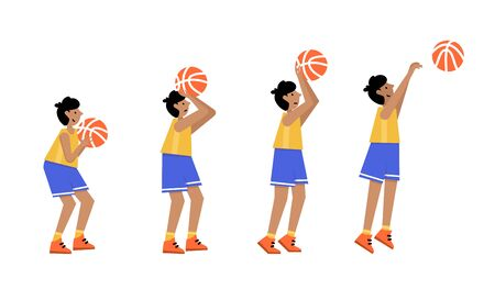 Basketball player shooting ball to the hoop. Free throw. Young boy cartoon action character. Flat vector isolated illustration. Children's basketball championship poster, banner design