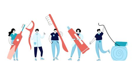 Vector isolated illustration of doctors holding tooth aids. Concept of tooth cleaning, care and protection from tooth decay. Teeth icon. Medical banner or poster illustration. Oral Health