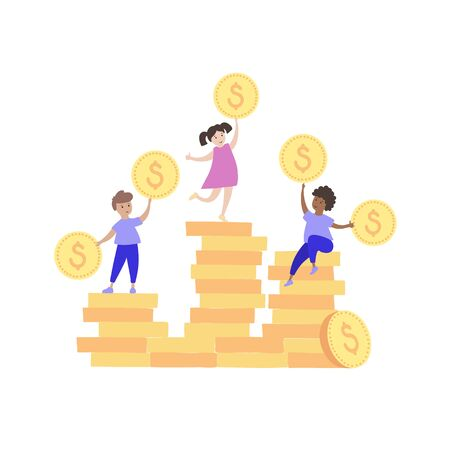 Vector isolated illustration of boy and girl with coin stack and gift. Budget planning. Child finance education symbol. Investment, saving symbol. Financial safety, investment building concept. 向量圖像