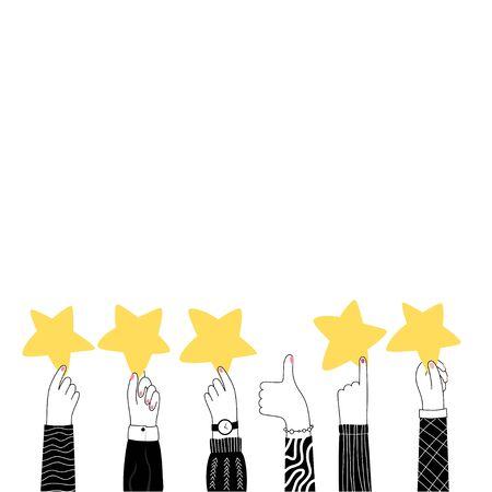 Vector isolated illustration of hands holding stars. 5 stars golden rank. User experience and customer review concept. Flat illustration on white background. Email banner design Vektorgrafik