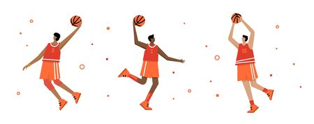 Set of basketball players of same team with balls. Adult man cartoon action character. Flat vector isolated illustration. Mens basketball championship poster, banner design   イラスト・ベクター素材